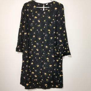 OLD NAVY Black Long Sleeve Floral Dress size Small